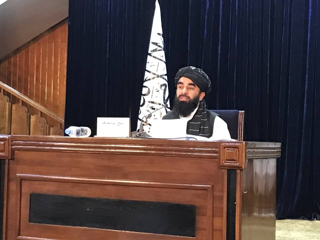 Taliban spokesperson Zabihullah Mujahid holds a press conference in Kabul, Afghanistan on Sept. 7.