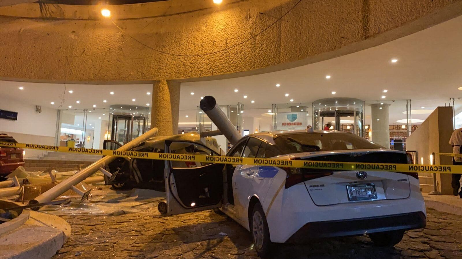 Cars outside a hotel in Acapulco, Mexico were damaged when the earthquake struck on Tuesday.