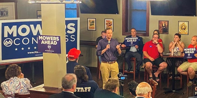 Former Trump State Department official Matt Mowers launches his second straight campaign for the House in New Hampshire's 1st Congressional District, on Sept. 8, 2021, in Manchester, N.H.