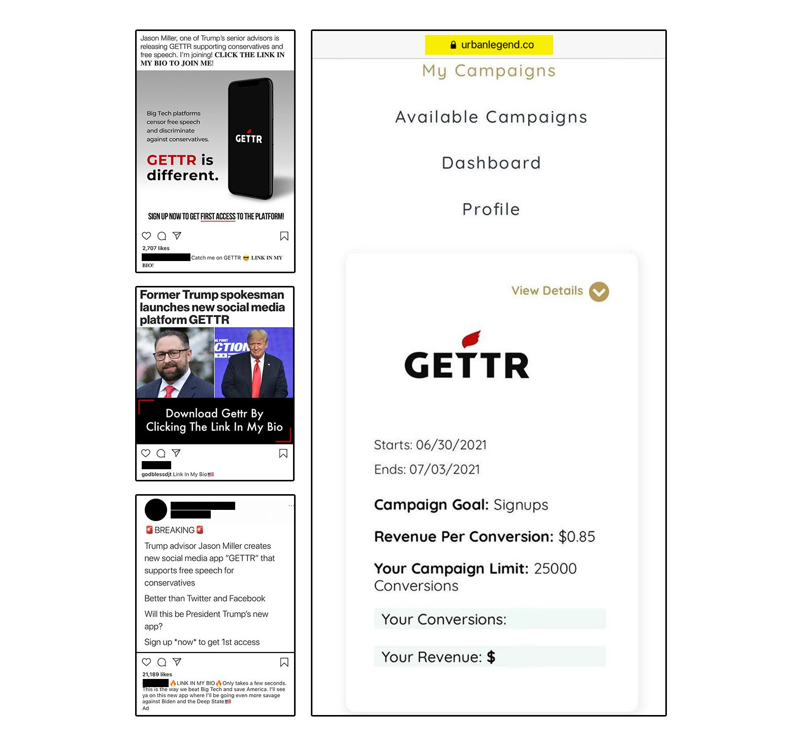 Memers could earn up to$21,250 through the GETTR ad campaign in June and July, which was among those coordinated by Urb