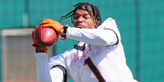 May 14, 2021; Cincinnati, Ohio, USA; Cincinnati Bengals wide receiver Ja'Marr Chase (1) catches a pass during NFL minicamp.