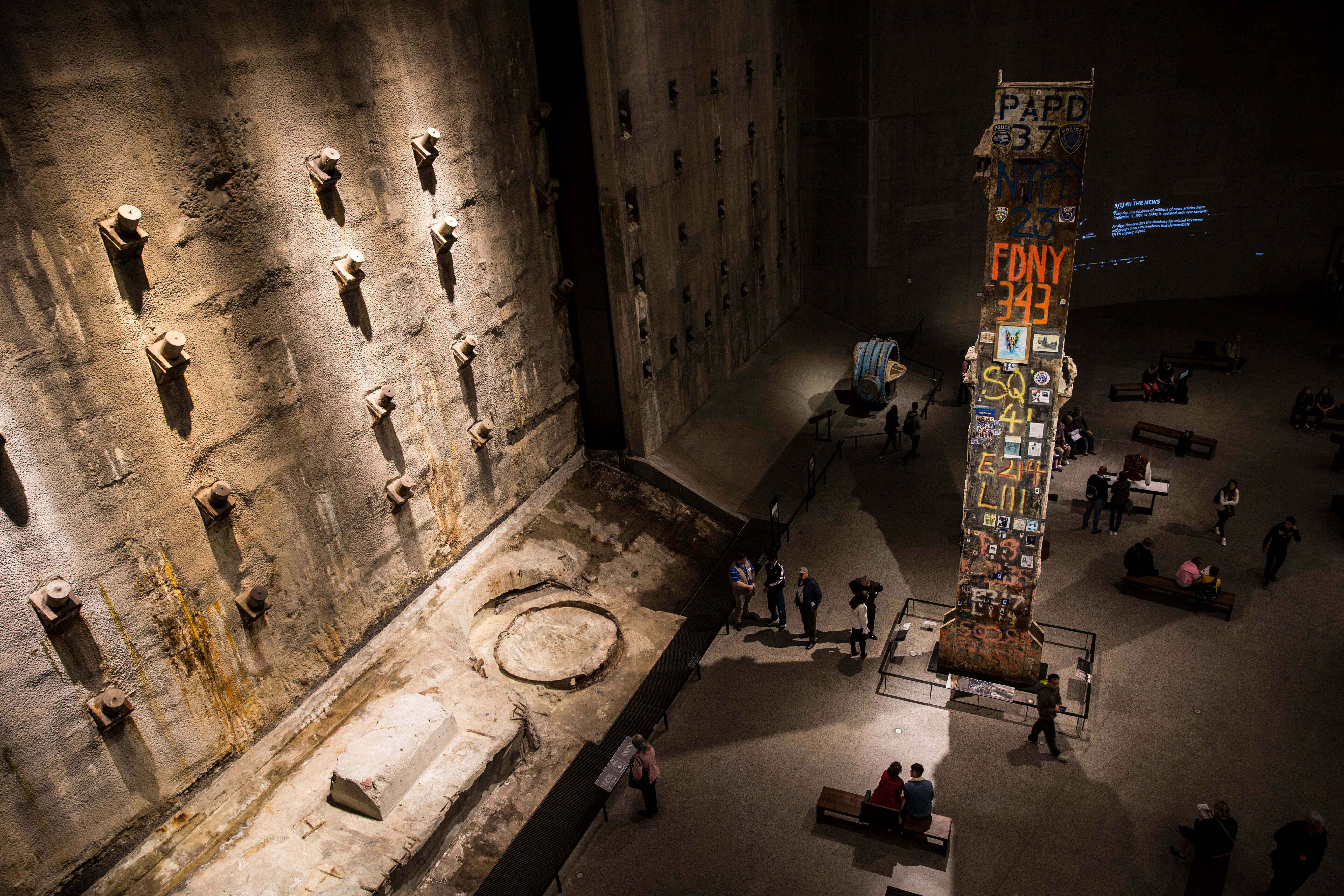 """The inside of the National 9/11 Memorial Museum in New York, United States, on Oct. 12, 2017. On the left is the """"slurry wall"""