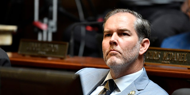 FILE - In this Tuesday, Sept. 7, 2021. file photo, Kentucky Sen. Max Wise listens to a speech during the opening day of the Kentucky State Legislature special session in Frankfort, Ky. (AP Photo/Timothy D. Easley, File)