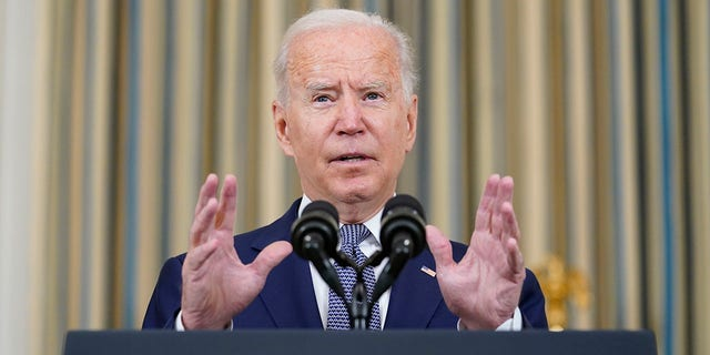 President Joe Biden speaks from the State Dining Room of the White House in Washington, Friday, Sept. 3, 2021, on the August jobs report. (AP Photo/Susan Walsh)