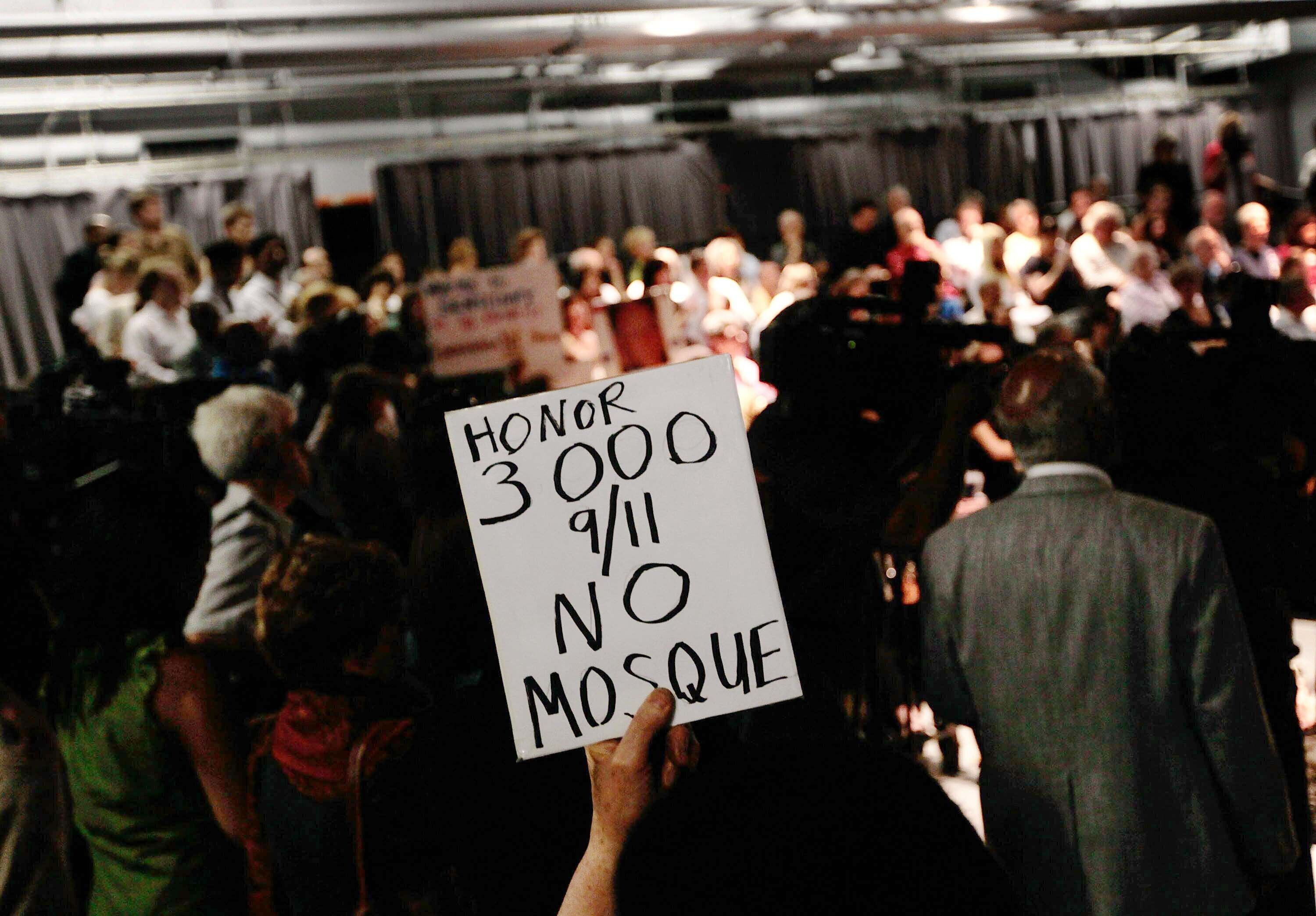 The heated scene at a community board meeting to debate the Cordoba House in Lower Manhattan on May 25, 2010.