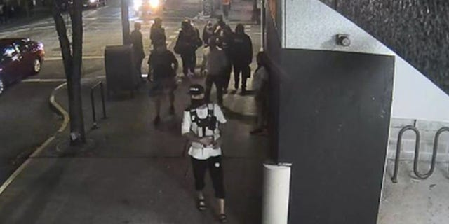 Security camera footage from Aug. 29, 2020, shows Michael Reinoehl outside a Portland, Oregon, parking garage on the night Aaron Danielson was killed, according to police.(Portland Police Bureau)