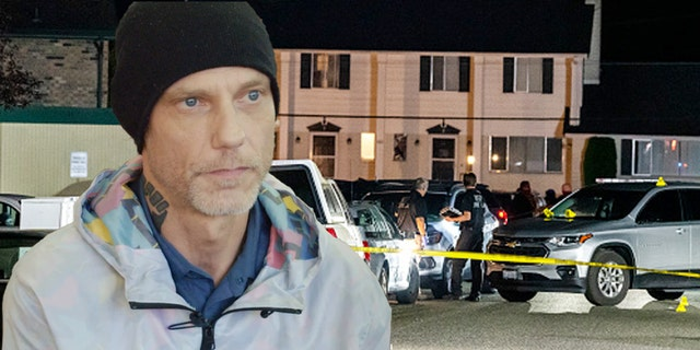 A photo illustration shows self-described Antifa supporter Michael Forest Reinoehl and the scene in Washington state in September 2020 after Reinoehl was fatally shot by law enforcement officers.