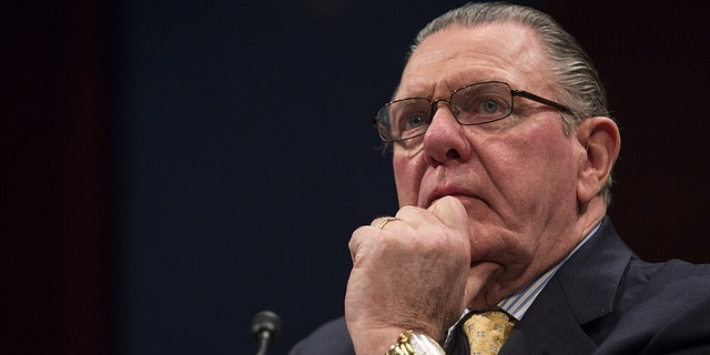 Ret. Gen. Jack Keane, Chairman of the Board of the Institute for the Study of War, listens during a House Homeland Security and Foreign Affairs Committee hearing. (Photo By Al Drago/CQ Roll Call)