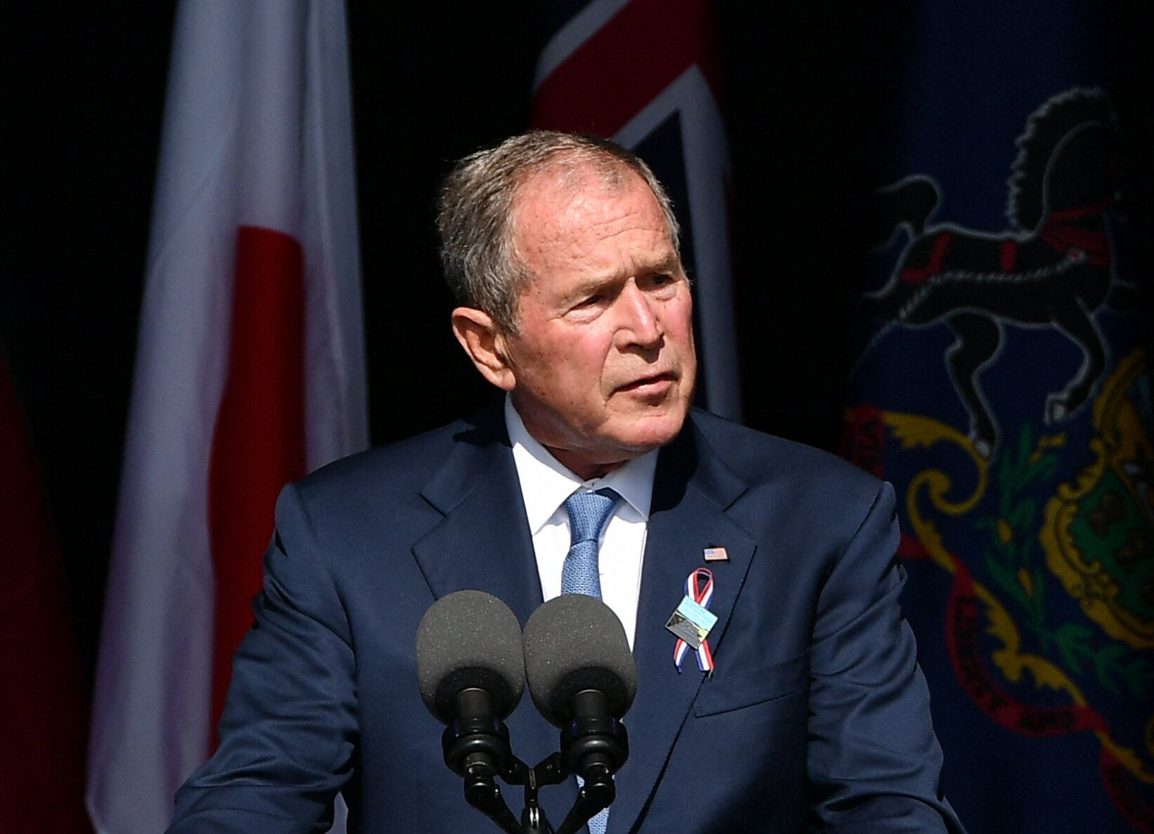 Former President George W. Bush speaks during a 9/11 commemoration at the Flight 93 National Memorial in Shanksville, Pennsyl