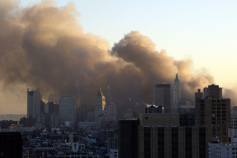 Smoke billows from the scene of the Sept. 11, 2001, terrorist attacks on the World Trade Center in Manhattan.