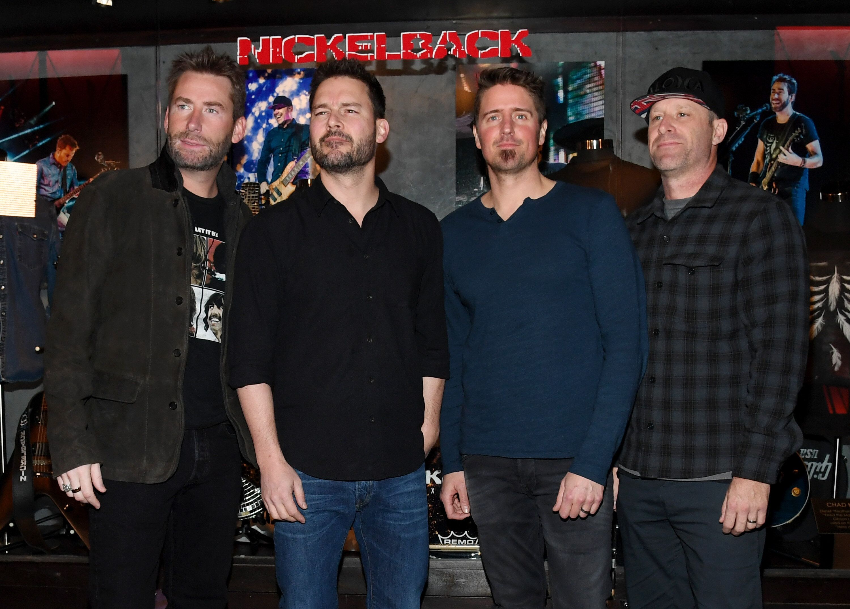 From left to right: frontman Chad Kroeger, guitarist Ryan Peake, drummer Daniel Adair and bassist Mike Kroeger of Nickelback