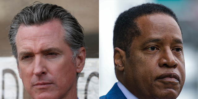 California Gov. Gavin Newsom, left, faces a recall election next week, with his toughest challenger expected to be Republican Larry Elder. (Getty Images)