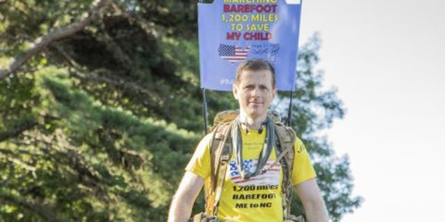 British Army Army Major Chris Brannigan, 41,began his Barefoot March on Aug. 31, 2021, in Maine. He plans to walk to North Carolina in 53 days as he works to raise awareness and funding for Cornelia de Lange Syndrome research.