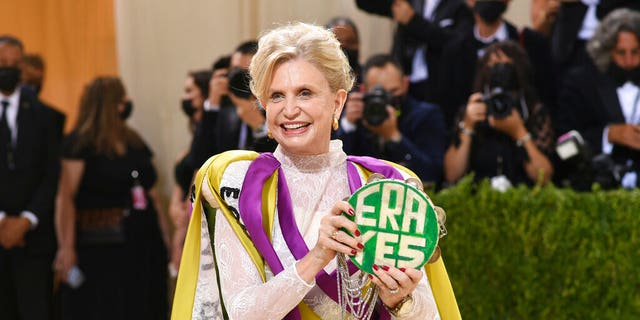 """Congresswoman Carolyn B. Maloney attends The Metropolitan Museum of Art's Costume Institute benefit gala celebrating the opening of the """"In America: A Lexicon of Fashion"""" exhibition on Monday, Sept. 13, 2021, in New York."""