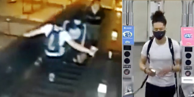 The suspect is seen kicking a woman on an escalator inside the Atlantic Ave-Barclays Center subway station in Brooklyn on Thursday. (NYPD)