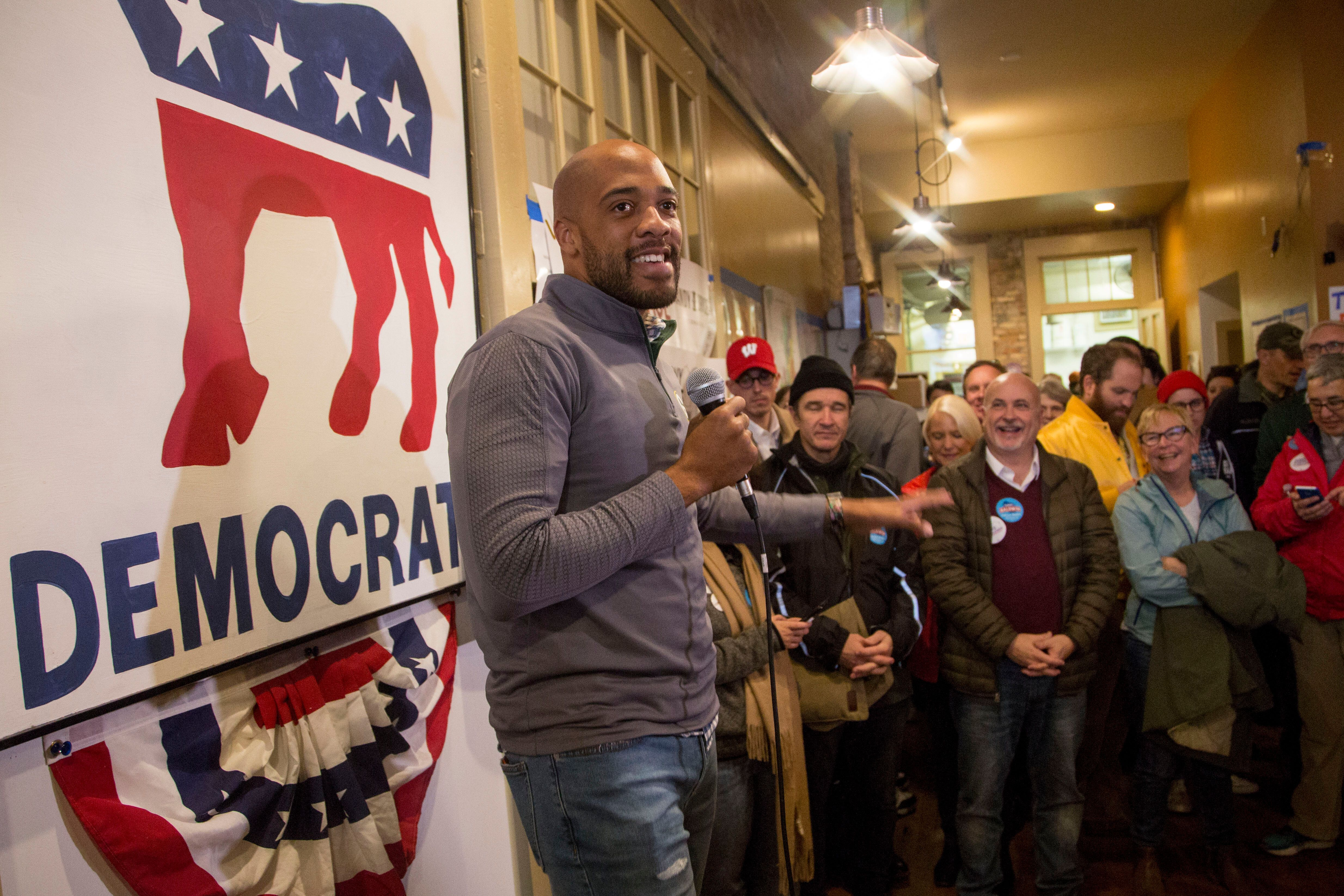 Mandela Barnes speaks to supporters at the Racine County Democratic office on Nov. 4, 2018, as he runs for lieutenant governo