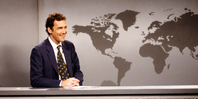 Norm MacDonald during the 'SNL' 'Weekend Update' skit on April 12, 1997