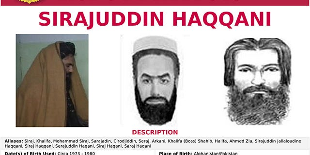 The 'Seeking Information' poster issued by the U.S. Federal Bureau of Investigation for Sirajuddin Haqqani, who is Afghanistan's newly appointed acting interior minister. FBI/Handout via REUTERS  THIS IMAGE HAS BEEN SUPPLIED BY A THIRD PARTY