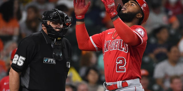 Los Angeles Angels' Luis Rengifo celebrates his two-run home run during the third inning of a baseball game against the Houston Astros, Saturday, Sept. 11, 2021, in Houston. (AP Photo/Eric Christian Smith)