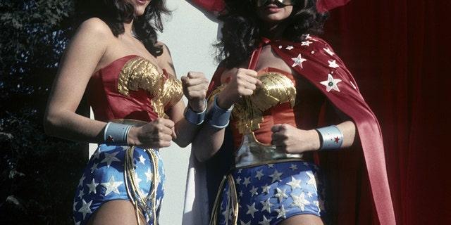 """Lynda Carter and Lynda Day George filming """"Wonder Woman"""""""