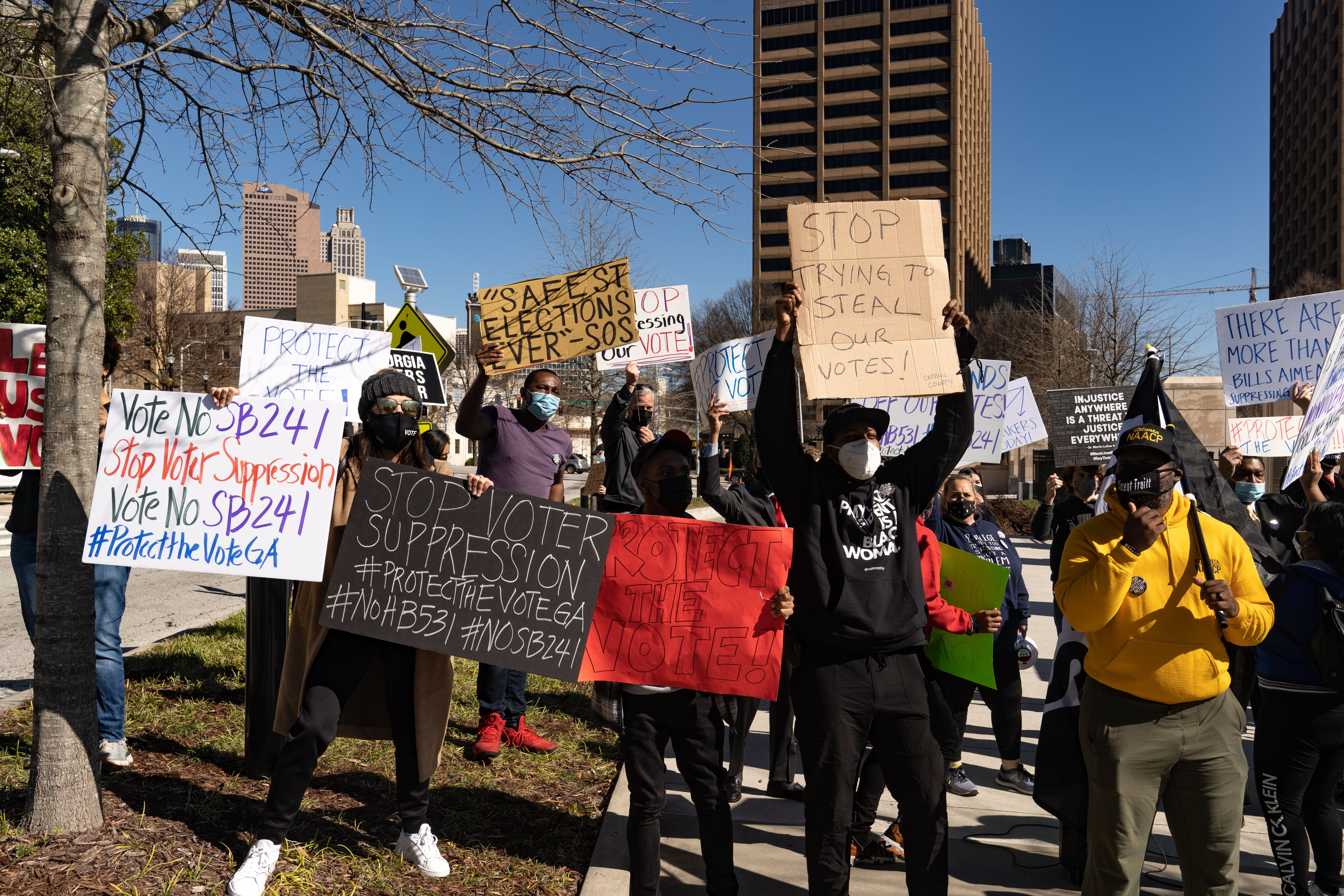 Protesters in Atlanta demonstrated against legislation that added new restrictions on voting to Georgia elections. In March,
