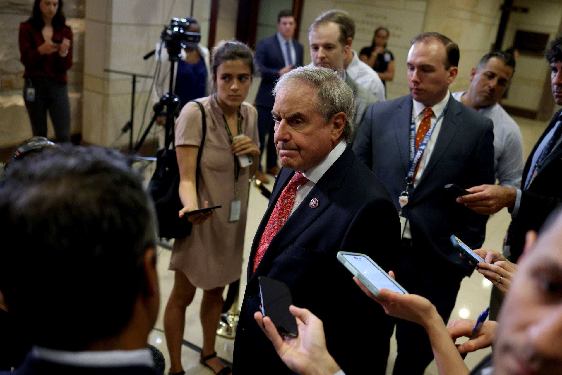 WASHINGTON, DC - JUNE 15: Rep. John Yarmuth (D-KY), Chairman of the House Budget Committee, speaks to reporters after a House Democratic Caucus meeting in the Capitol Visitor Center on June 15, 2021 in Washington, DC. The closed door caucus meeting was held in person for the first time since the start of the Covid-19 pandemic. (Photo by Anna Moneymaker/Getty Images)