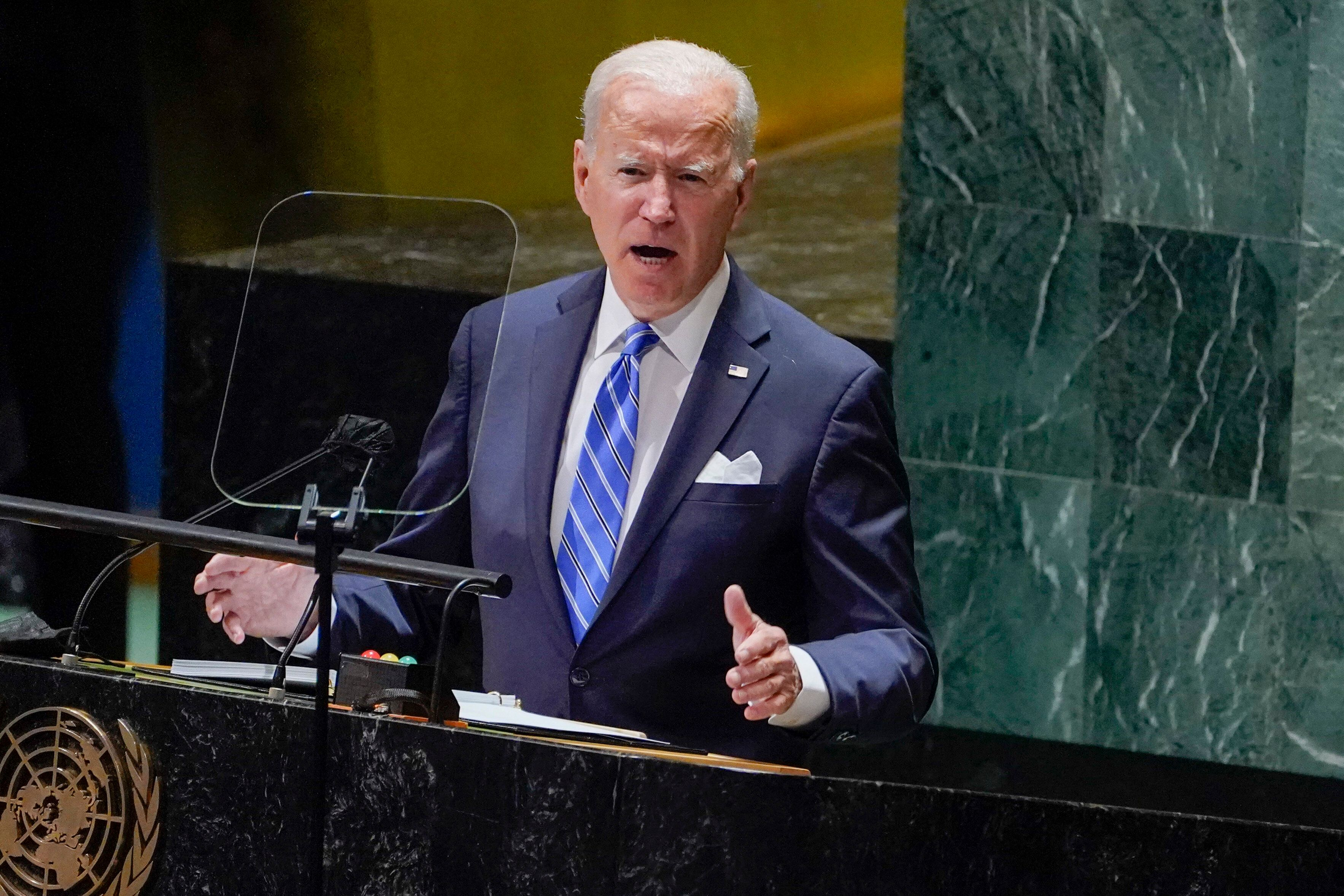 President Joe Biden delivers remarks to the 76th Session of the United Nations General Assembly, Tuesday, Sept. 21, 2021, in