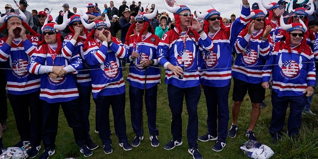 Fans cheer on the 11th hole during a practice day at the Ryder Cup at the Whistling Straits Golf Course Wednesday, Sept. 22, 2021, in Sheboygan, Wis.