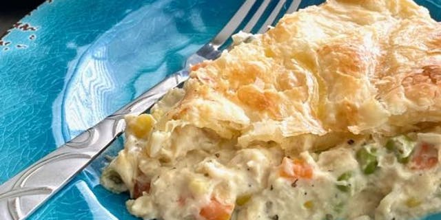 Debi Morgan cuts down on time with her Skillet Chicken Pot Pieby mixing all the ingredients into a skillet at once.
