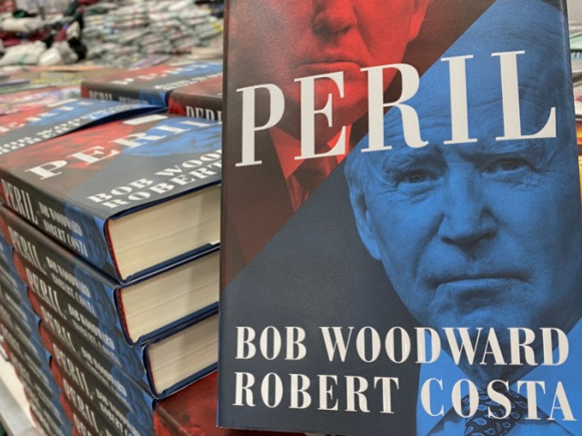 """he book """"Peril"""" by authors Bob Woodward and Roberta Costa is seen for sale in a store on September 21, 2021 in Los Angeles, California - The book goes inside with eyewitness accounts of the Trump White House, the Biden White House, the 2020 campaign, the Pentagon and Congress. (Photo by Chris DELMAS / AFP) (Photo by CHRIS DELMAS/AFP via Getty Images)"""