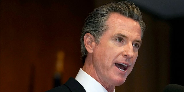 """FILE - In this Sept. 14, 2021, file photo, California Gov. Gavin Newsom speaks in San Francisco. Newsom said Tuesday a potential statewide coronavirus vaccine mandate is """"on the table"""" for students 12 and older and his office is discussing it with school districts across the state.(AP Photo/Jeff Chiu, File)"""