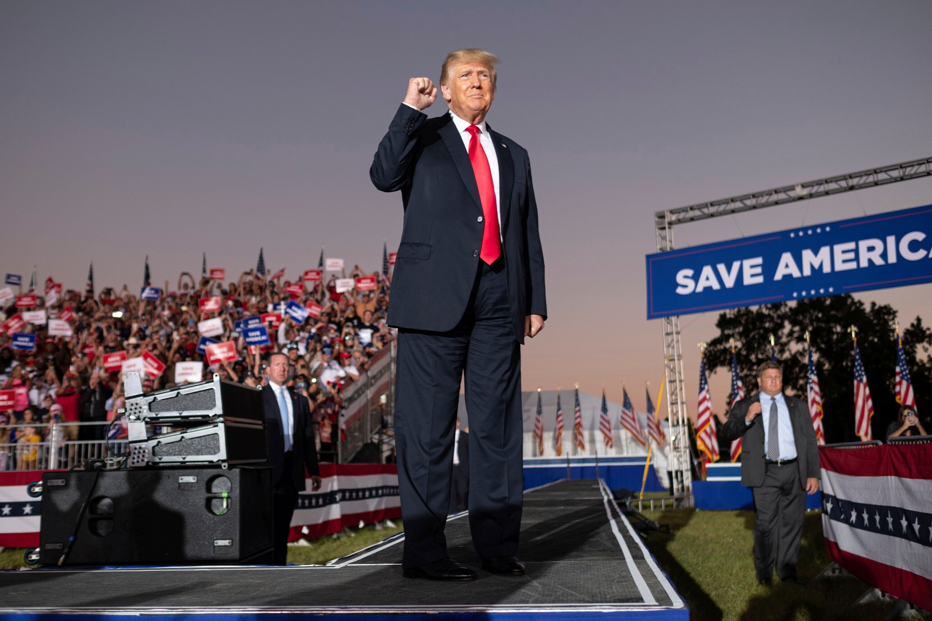 Former President Donald Trump greets supporters during his Save America rally in Perry, Georgia, on Sept. 25.