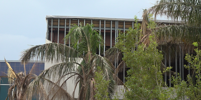 Part of the outside wall of South Lafourche High School was ripped off during Ida.