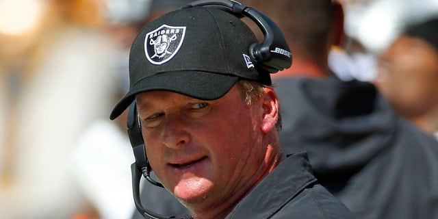 Jon Gruden of the Las Vegas Raiders in action against the Pittsburgh Steelers on September 19, 2021 at Heinz Field in Pittsburgh, Pennsylvania.