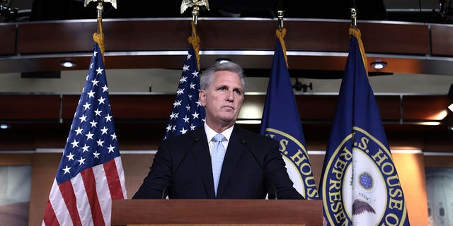 WASHINGTON, DC - AUGUST 27: House Minority Leader Kevin McCarthy (R-CA) speaks at a press conference at the Capitol building on August 27, 2021 in Washington, DC. (Photo by Anna Moneymaker/Getty Images)