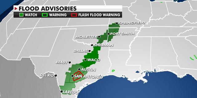 Flood advisories from Texas into Oklahoma