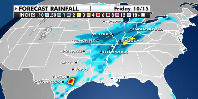 Forecast rainfall across the Central U.S.